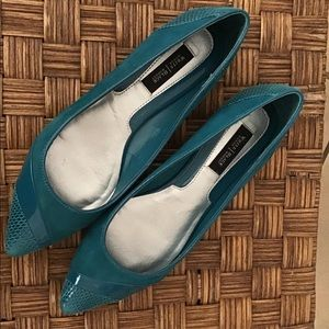 WHBM Teal Suede Pointed Toe Flats